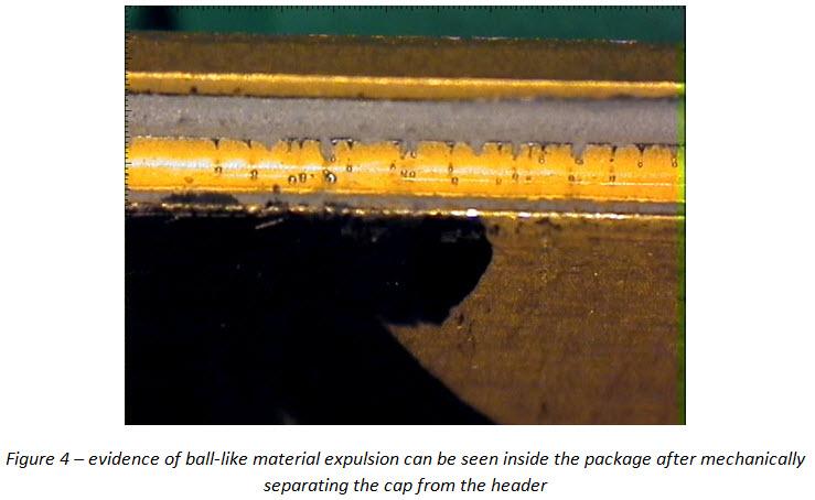 Material expulsion in hermetic seal