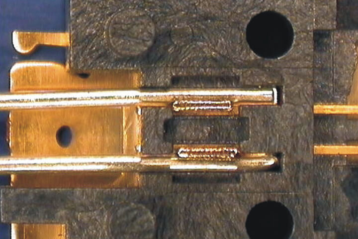 Terminal welding - gold plated copper, electronic component, terminal weld, lw5ag, green laser