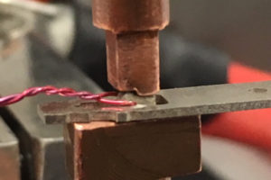 Coil welding - electronic component, cu, magnet wire, tin plated brass, copper, brass, aluminum, braze, resistance braze, HF25, 180A/EZ