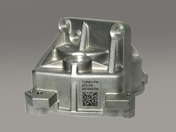 Turbo component housing - automotive, case aluminum, laser marking, 2D, lmf35