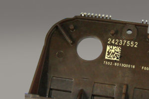 Brake assembly - automotive, brake assembly, laser marking, plastic, barcode readable, LMF10
