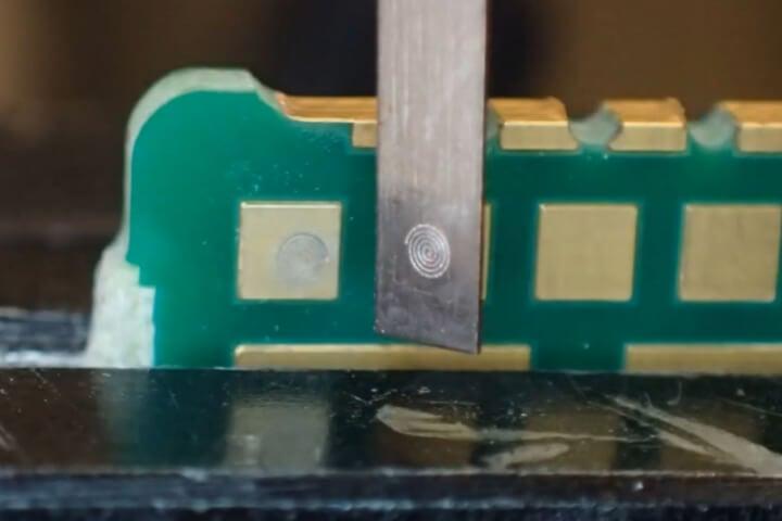 Sensor PCB - Fiber Laser Welding - Spiral - Gold Plated - Laser Welding, LMF70-HPFX-F, automotive Welding, Seam Gold Plated Sensors spiral PCB