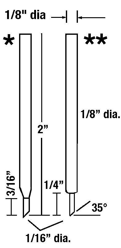 """EO0420 Offset Electrode Set<br> 1/8 """" OD, 1/16"""" Tip OD <br> Molybdenum Insert"""