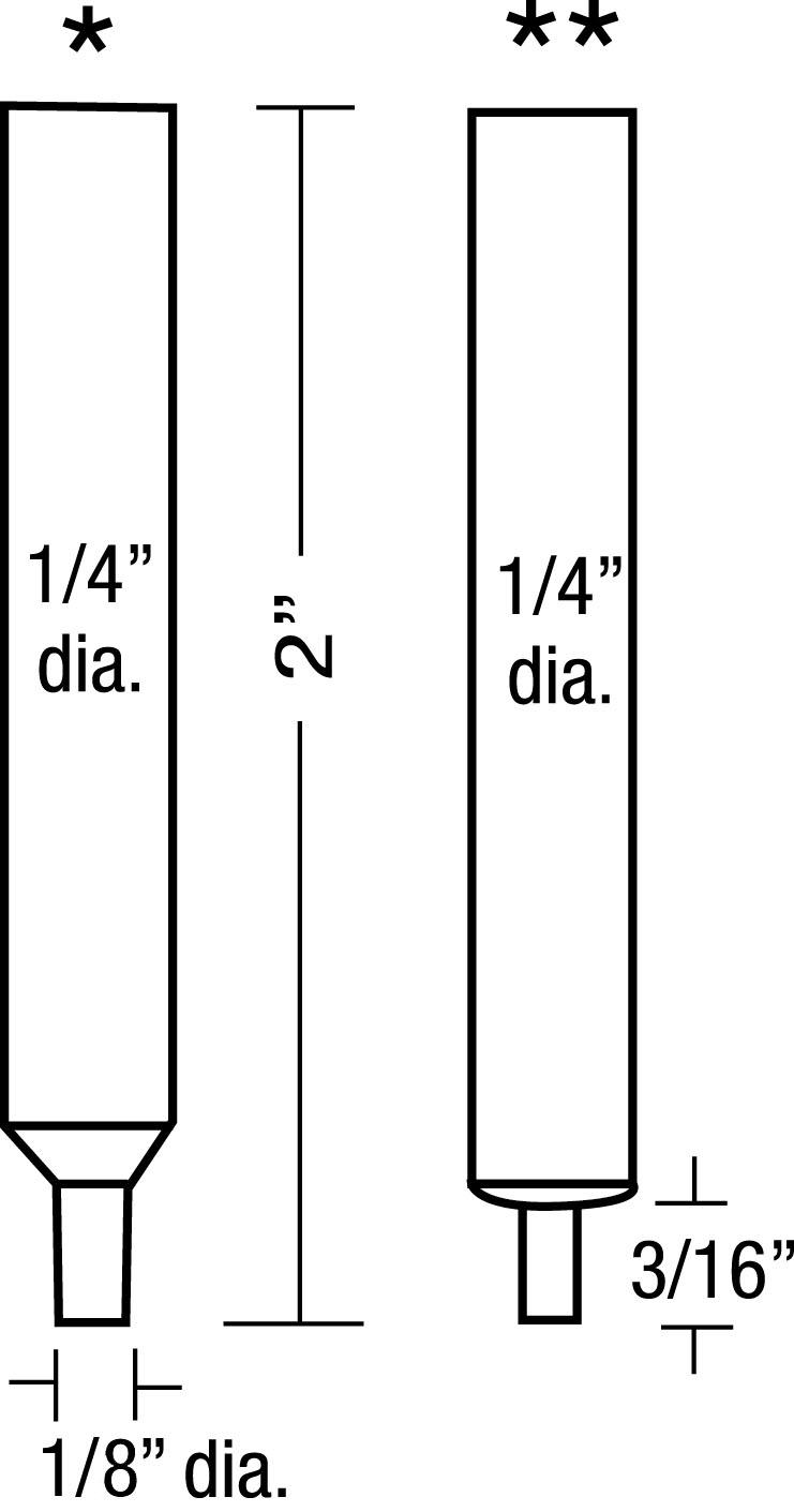"""ES0820A Straight Electrode Set <br> 1/4"""" OD, 1/8"""" Tip OD <br> Molybdenum Insert"""