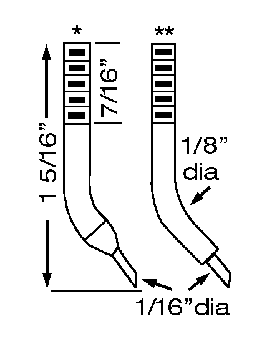 "ET0413 Tweezer Electrode Set<br> 6-32 Thread, 1/16"" Tip OD<br> RWMA 13 Insert"