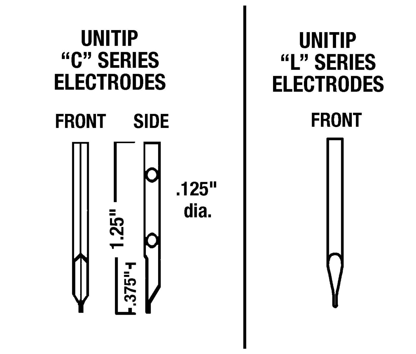 """UTM224C Unitip Electrode <br> .020"""" x .020"""" x .050"""" (W x D x L) <br> 004"""" Gap, Max Force 132 oz"""